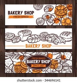 Bakery Shop Design. Sketch Bakery Banners