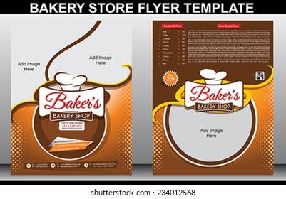 Bakery Shop Flyer Template & Magazine Cover vector illustration