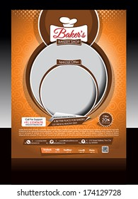 Bakery Shop Flyer vector illustration
