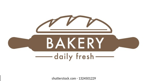 Bakery shop fresh bread isolated icon pretzel spatula and whisk cutting board pastry food production factory or store wheat dough and flour baking and cooking tools and culinary emblem or logo