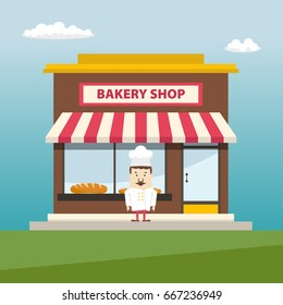 Bakery shop front view with baker. Flat design.