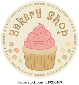 Bakery shop. Hand drawn vector illustration in retro style