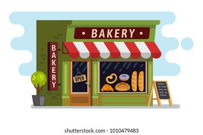 Bakery shop house. Cafe, building Vector flat
