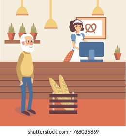 Bakery shop interior with girl seller character in apron standing behind the counter. Old man buyer standing with happy smile. Flat cartoon vector.