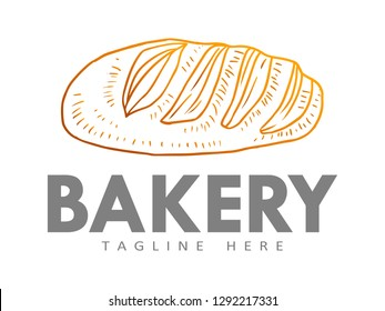 Bakery shop logo, with a modern line style, for use in cafes, markets, home bakeries, bakeries, etc.