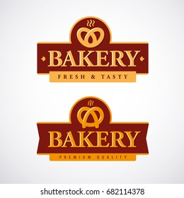 Bakery shop logo template with pretzel. Vector illustration.