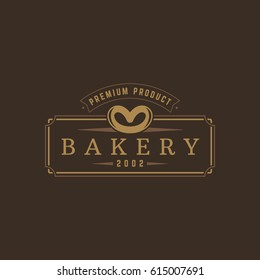Bakery Shop logo template vector object for logotype or badge Design. Trendy retro style illustration, Pretzel silhouette.
