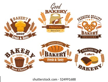Bakery shop signs of bread, pastry, desserts. Vector isolated bakery icons of wheat bread loaf, flour sack with rolling pin, baked bagels, rye bread brick, sweet buns, pies.