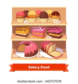 Bakery shop stand with sweet desserts: cupcakes, cakes and bread with frosting. Flat style illustration.