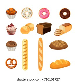 Bakery shop vector icons. Baked bread products wheat, rye bread loafs, bagels, sliced bread toasts, french donut or doughnut,cake with raisins. Elements for bakery, pastry design,