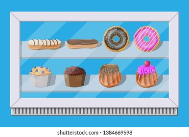 Bakery shop vitrine freezer with cakes and pastry. Donut, muffin, cupcake and eclair. Vector illustration in flat style