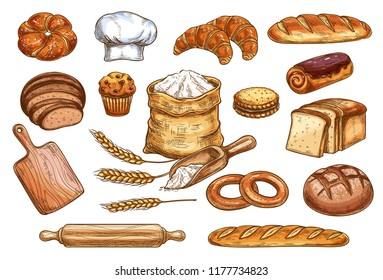 Bakery sketch bread or pastry and baker chef items. Vector icons of flour sack bag and dough or cutting board and baker hat, wheat ears with loaf and rye bagel or chocolate croissant and baguette