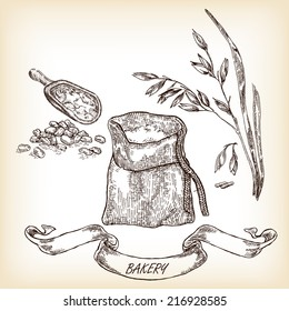 Bakery sketch.Hand drawn illustration of sack, grain, meal, oats