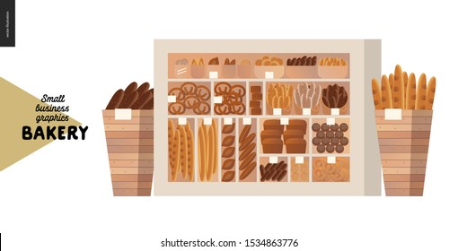 Bakery -small business illustrations -display case -modern flat vector concept illustration of showcase and two wooden boxes full of bread- wheat, rye loaf, grain, pretzel, bun, roll, french baguette