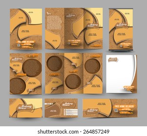 Bakery Store Business Stationery Set Template