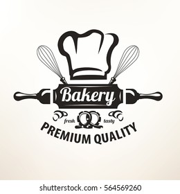 Bakery stylized vector emblem or label in retro style, logo template.