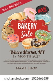 bakery super sale poster hand drawn