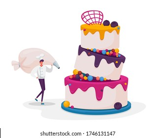 Bakery and Sweet Food Concept. Tiny Chef Character Decorate Huge Cake with Cream in Pastry Bag. Treat Confectionery Dessert for Party, Wedding or Birthday Celebration. Cartoon Vector Illustration