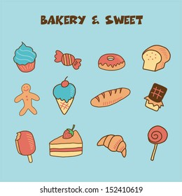 bakery and sweet icon, doodle hand drawing style