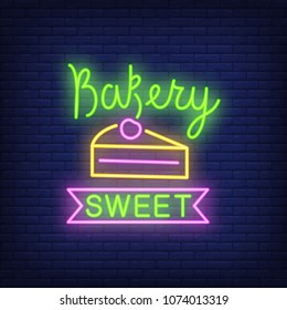 Bakery sweet neon sign. Slice of cake with cherry. Night bright advertisement. Vector illustration in neon style for candy bar and celebration event