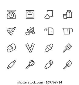 bakery tools black icon set on white background