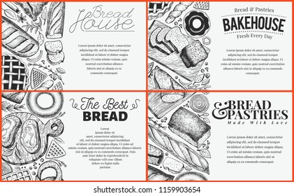 Bakery top view baner design set. Hand drawn vector illustration with bread and pastry on chalk board. Retro design template. Can be use for menu, packaging.