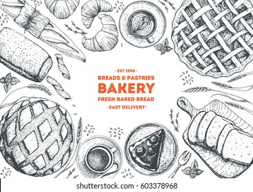Bakery top view frame. Hand drawn sketch with bread, pastry, sweet. Bakery set vector illustration. Background template for design. Engraved food image