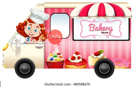 Bakery truck with baker driving illustration