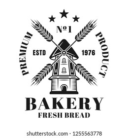 Bakery vector emblem, badge, label or logo with windmill in vintage monochrome style isolated on white background