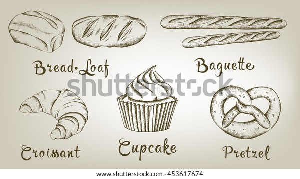 Bakery vector hand drawn isolated collection
