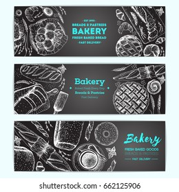 Bakery vector illustration. Horizontal banner set. Hand drawn sketch with bread, pastry, sweet. Background template for design. Engraved food image.