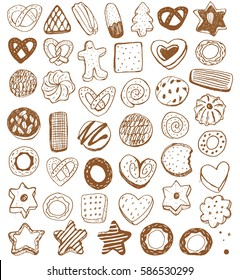 Bakery vintage design elements: cookie, pretzels, gingerbread, wafer, cracker. Cookies wrapping paper.
