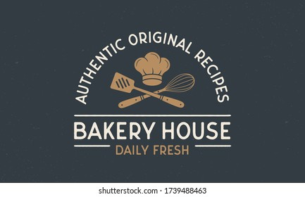 Bakery vintage logo. Bakery House template logo with spatula and whisk . Modern design poster. Label, badge, poster for bake house, bread house, bakery. Vector illustration