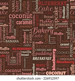 Bakery words, tags. Seamless pattern on the brown background