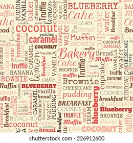 Bakery words, tags. Seamless pattern on the beige background