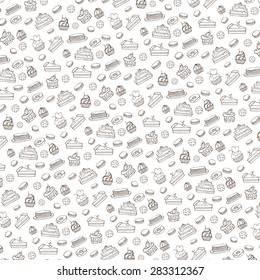 Bakery,Cakes,dessert,pastries linear pattern.Doodle vector.Vintage food icons,sweet elements background for menu,cafe shop.Flat hand drawn vintage set.Bakery,Cakes,dessert,pastries.Backdrop,wallpaper