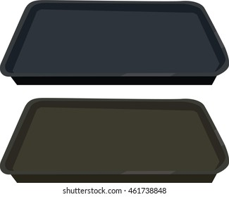 Baking dish, rectangle oven tray, sheet. Clean black oven tray. Top view. Isolated on white background.