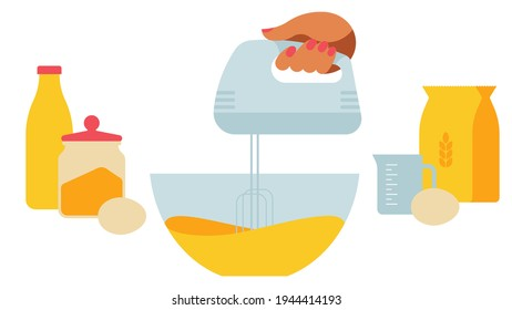 Baking dough preparation - the hand whips the mass with mixer.Kitchenware - cups, bowls, rolling pin, scales, jar, mixer and others. Set of products for baking - flour, milk, eggs, dough.