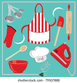 Baking icons and elements.  Great for a baking party invitation