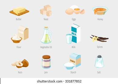 Baking ingredients in cartoon style. Set of vector food icons. Vegetable oil, flour and honey, jam and nuts, spices and sugar illustration