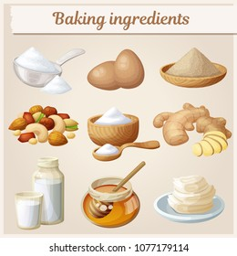 Baking ingredients cartoon vector icons set. Collection of cooking illustrations eggs, nuts, yeast, sugar, milk, powder, honey,