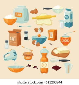 Baking ingredients set with flour dough milk butter eggs honey oil food seasoning spices kitchenware isolated vector illustration
