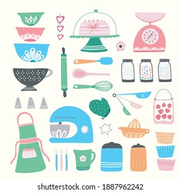 Baking kitchen icon set, vector illustrations of home cooking equipment, cute and colourful hand drawn design resource.