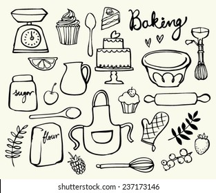 Baking kitchen icons doodle vector set