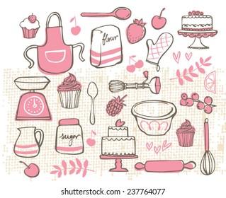 Baking kitchen icons doodle vector set
