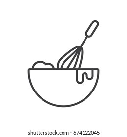 Baking line icon. Cooking process illustration. Beating with hand mixer.