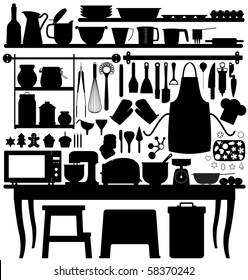 Baking Pastry Kitchen Tool Silhouette Vector