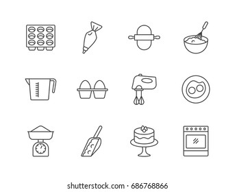 Baking related line icons set with muffin pan, kitchen scale, oven, mixer, eggs, pastry bag.