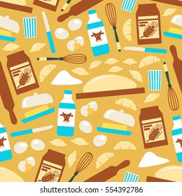 Baking seamless pattern. Vector pattern of pastry cooking tools, kitchen utensils and ingredients. Flour and dough, rolling pin, croissant and eggs, milk pack, whisk, knife, butter