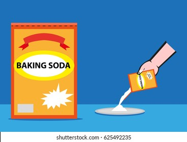 Baking Soda box and poured on a plate by a hand. Editable Clip Art.